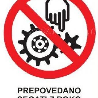 znak za nevarnost pri delu na stroju